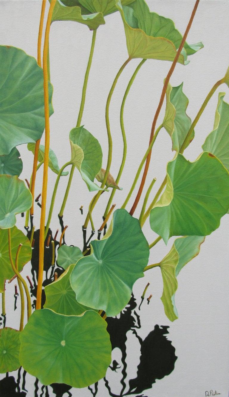Lotus No. Five (Hard Edge Realist Painting of Lotus Leaves Reflected in Water)