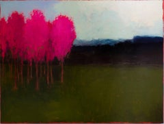 At First Blush (Minimalist Color Field Landscape Painting with Magenta Trees)