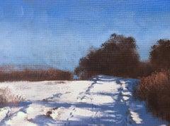 Snow Tracks (Framed Oil on Canvas Winter Landscape)