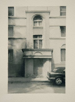Entry (Modern Realist Black & White Watercolor Painting of Front Door Building)