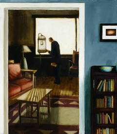 Cage (Figurative Interior Painting of Man in a Living Room with Bird Cage)