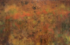 Creative Eagerness (Abstract Painting on Metal with Warm, rust colored palette)