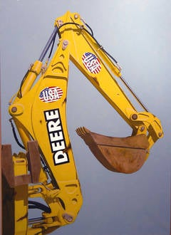Decals (Photo Realist Oil Painting of Yellow USA John Deere Backhoe)