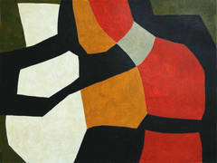 Vase (Modern Abstract Painting on Paper in Beige, Green, White, Orange, Red)