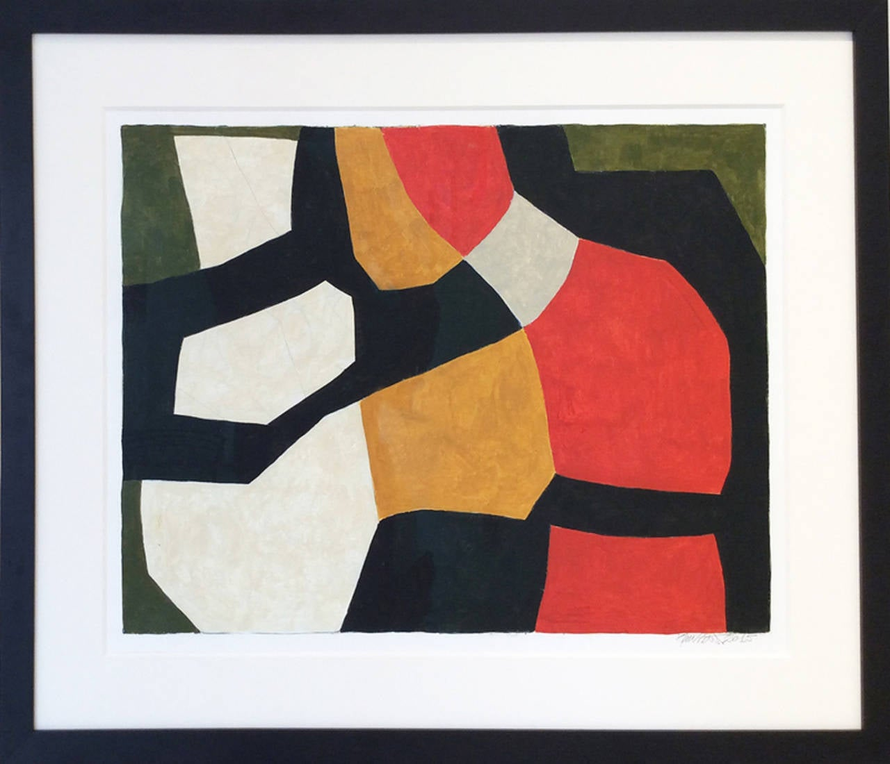 Abstract, mid-century modern style painting on paper 18.25 x 24 inches acrylic on Arches paper Framed in black wood framed, white 8 ply mat, AR non glare glass Paper size is 22 x 30 inches, 27.5 x 33 inches framed  This abstract geometric painting