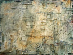 Cartography of Silence (Modern Abstract Oil Painting in Sage Green and Yellow)