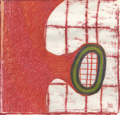What To Do With A Grid #9B (Red and White and Avocado Green Abstract Painting)