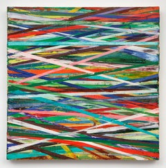 East-West (Contemporary horizontal stripe grid painting in Bold, Primary Colors)