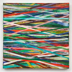 East-West (Modern Primary Colored Abstract Geometric Horizontal Striped Painting