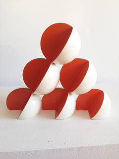 Bocce (Small Abstract Mid Century Modern Style Red & White Table Sculpture)