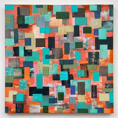 Southernmost Painting: Colorful Abstract Geometric Mixed Media Painting on Panel
