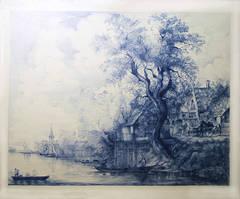 Jan Van Goyen (Ballpoint pen landscape drawing on paper)