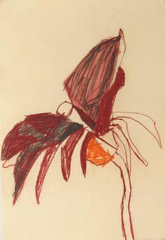 Anne Francey - Flower #3 (Gestural Abstracted Flower Drawing in Red and Orange on Paper)