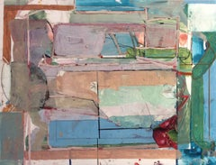 Oct. 15 (VIII) (Abstract Mixed Media in Green, Blue, Lavender, and Terracotta)