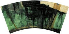 Fan Paintings #5: Modern, Abstract Expressionist Style Painting in Green & Black