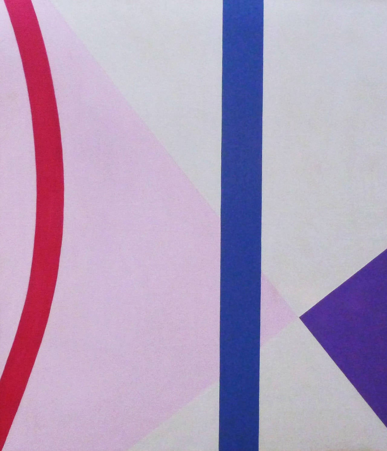 Vertical Blue: Abstract Geometric Acrylic Painting in Pink & Periwinkle on White