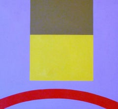 Yellow Rectangle (Modern Abstract Acrylic Painting in Periwinkle & Yellow)