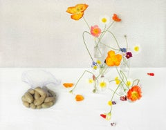 Poppies & Potatoes (Still Life Photograph of Flowers & Vegetables on White)