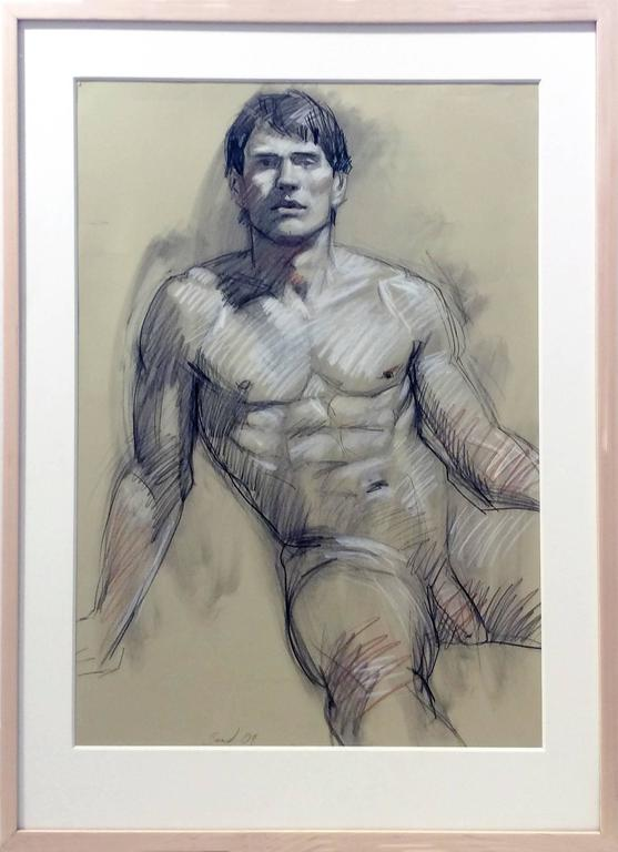 MB 802 (Contemporary Figurative Drawing of Male Nude with Wood Frame)