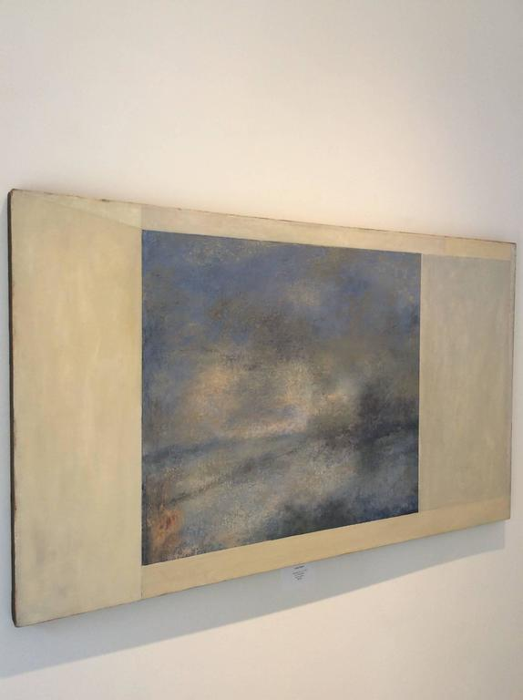 Opening No. 42 (Romanticist Style Abstract Oil Landscape Painting in Pale Blue) For Sale 1