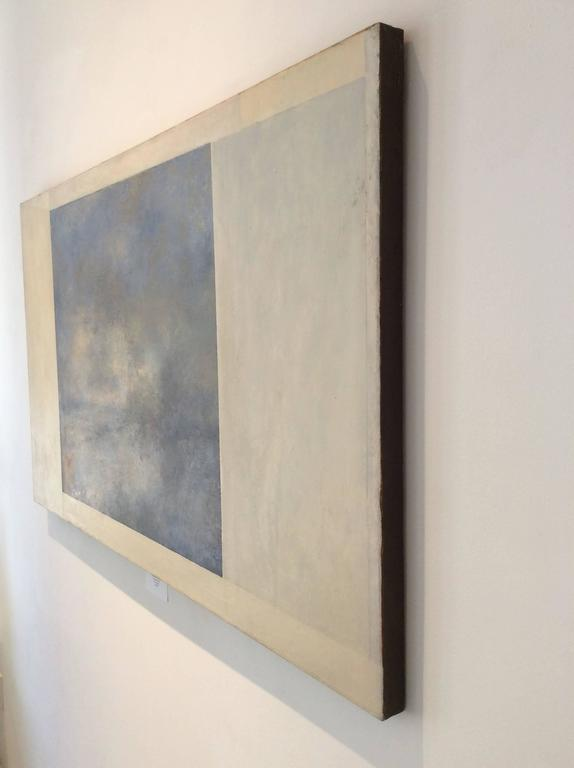 Opening No. 42 (Romanticist Style Abstract Oil Landscape Painting in Pale Blue) For Sale 2