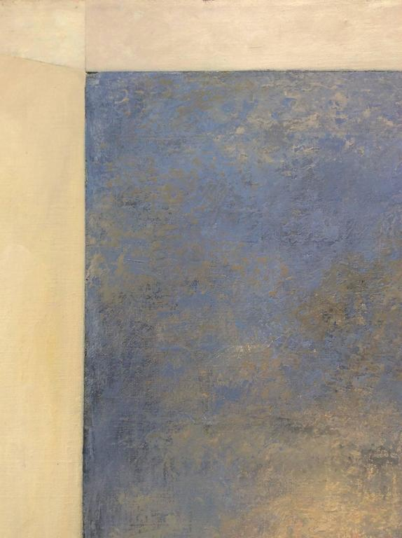 Opening No. 42 (Romanticist Style Abstract Oil Landscape Painting in Pale Blue) For Sale 3