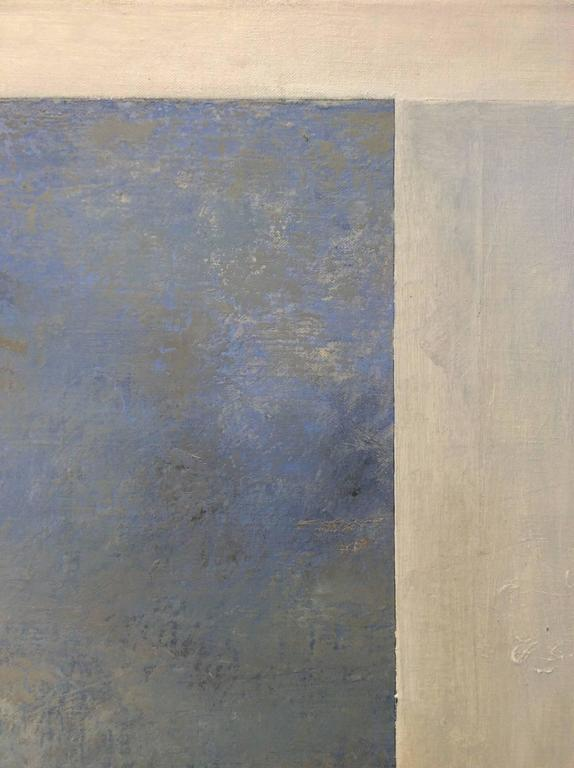 Opening No. 42 (Romanticist Style Abstract Oil Landscape Painting in Pale Blue) For Sale 4