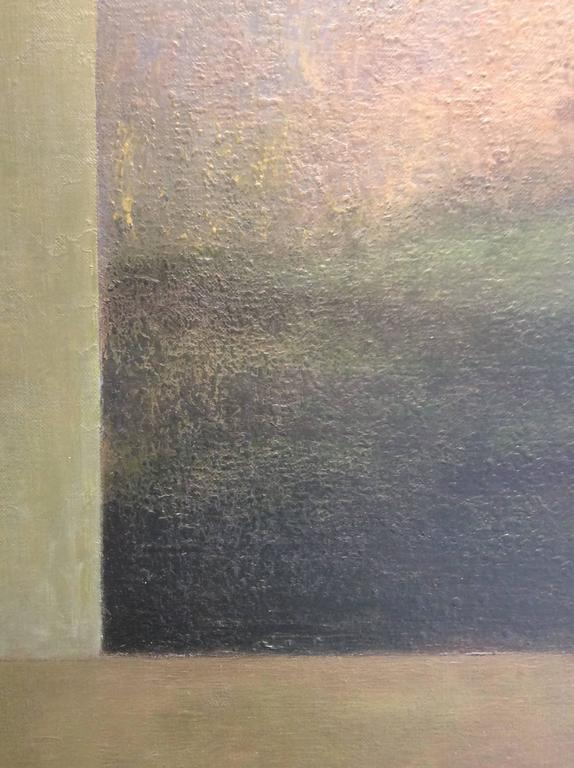 Opening No. 52 (Abstracted Vertical Luminist Oil Painting of Hudson Valley) For Sale 2