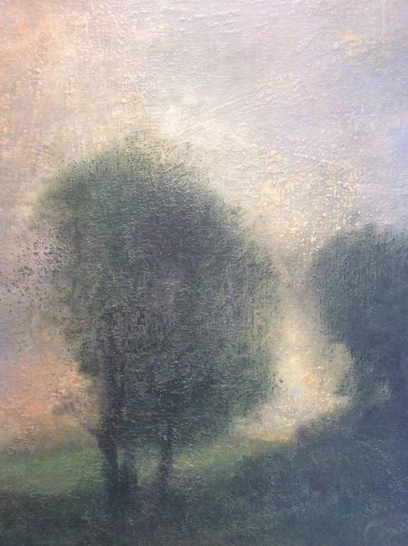 Opening No. 52 (Abstracted Vertical Luminist Oil Painting of Hudson Valley) For Sale 3