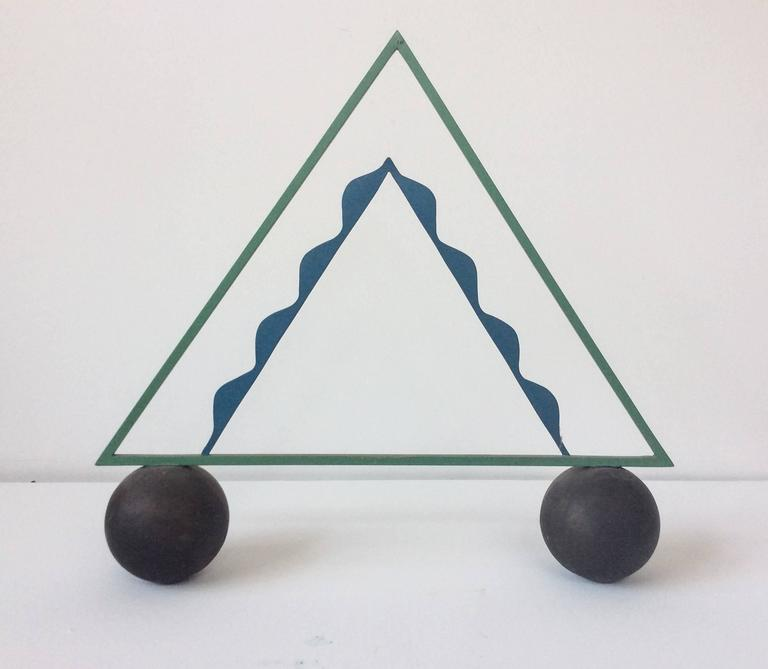 Big Top (Abstract Blue & Green Triangle Sculpture in Mid Century Modern Style)