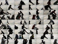Street Dance 5 22 10 2 (Abstract Black and White Urban Grid of Bikers)