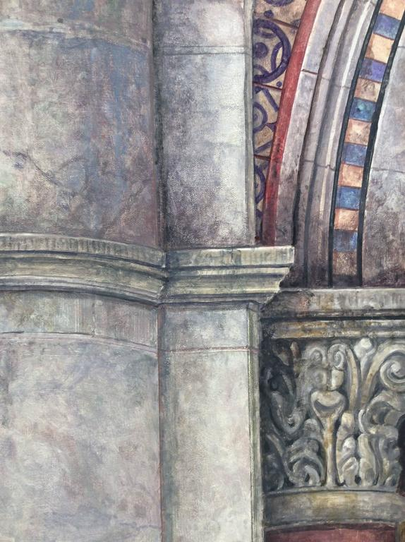 Trying to Remember the Byzantine: Realistic Oil Painting of Neo-Classical Column - Brown Still-Life Painting by Richard Britell