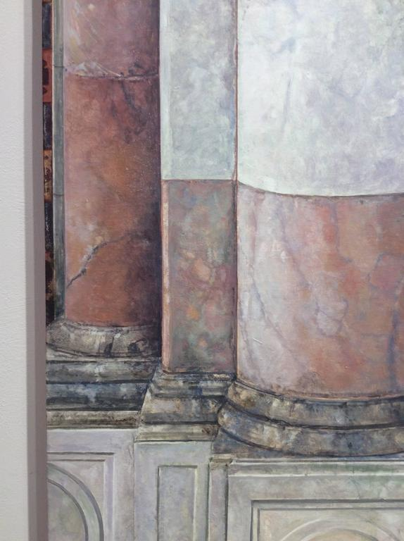 Realistic architectural still life painting, oil on canvas vertical oil painting, 70 x 20 x 1.5 inches  Mr. Britell's subject matter is drawn from the world of pre-modernist architecture.  His focus is on quintessential neo-classical architecture,