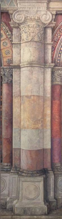 Trying to Remember the Byzantine: Realistic Oil Painting of Neo-Classical Column