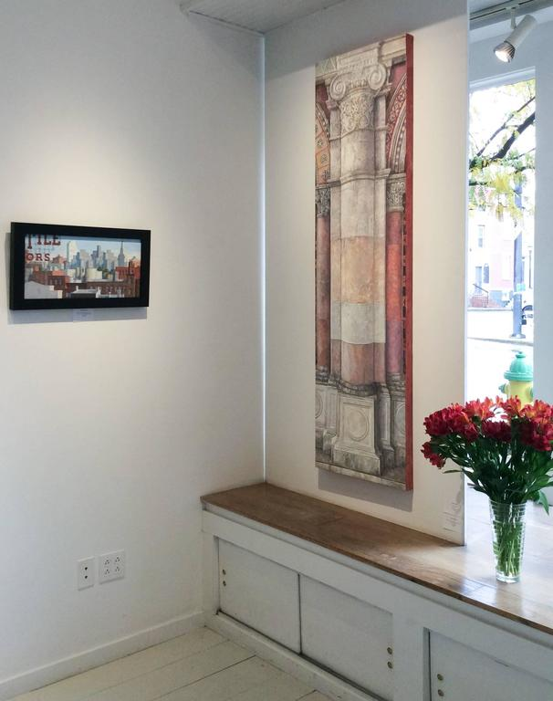 Trying to Remember the Byzantine: Realistic Oil Painting of Neo-Classical Column For Sale 1