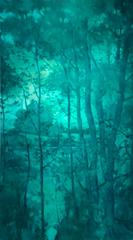 Through the Trees (Large Monochromatic Contemporary Turquoise Landscape)