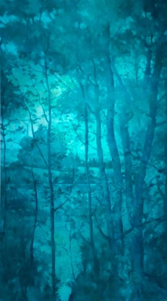 Through the Trees: Large Monochromatic Turquoise Abstract Landscape Oil Painting