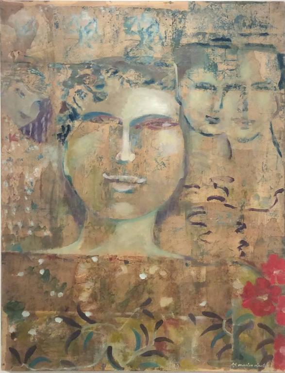 Marion Vinot Figurative Painting - Ancient Memory (Abstracted Painting of Whimsical Feminine Portraiture in Gold)