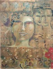 Ancient Memory (Abstracted Painting of Whimsical Feminine Portraiture in Gold)