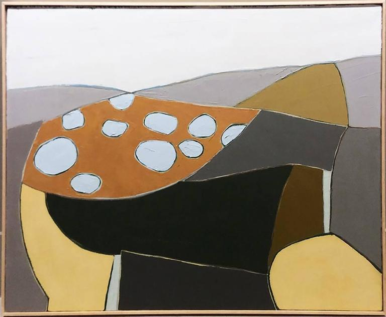 Winter Parchment (Modern, Abstract Painting in Grey Blue, Ochre, Beige Yellow)