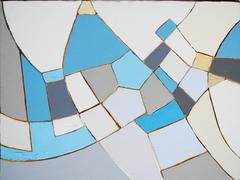 White Painting for Elsa (Modern, Abstract Painting in Light Blue, Beige & White)