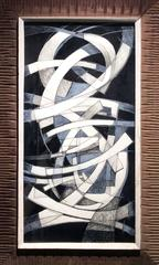 Arch I (Abstract Black, White & Blue Drawing in Mid Century Modern Wood Frame)