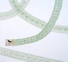 Samoa, Green Flight Pattern (Pastel Green Colored Pencil Drawing & Bird Stamp)