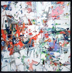 Dissonance (Contemporary Abstract Expressionist Painting in Red, White & Blue)