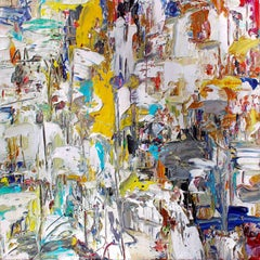 Inner Voice (Abstract Expressionist Painting on Canvas in Yellow, White & Blue)