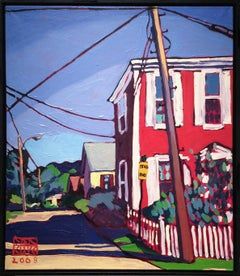 Down Bangs Street (Modern Fauvist Style Cityscape Painting of Red Town Building)