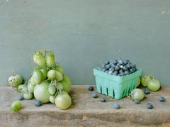 Green Tomatoes & Blueberries: Modern Still Life Photograph of Fruit & Vegetables