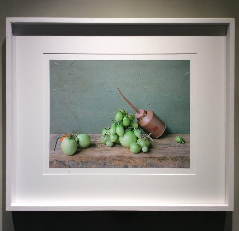 Green Tomatoes & Oil Can: Modern Still Life Photograph of Food & Objects, Framed 2