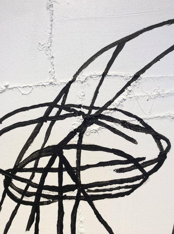 Cyril (Black & White Abstracted Portrait on Hand Stitched Canvas)  - Outsider Art Painting by Jack Walls