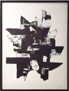 Abstraction II (Black and white paper collage with acrylic)